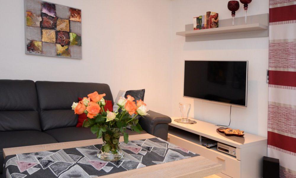 Bild zeigt die moderne Ferienwohnung Ehmann mit höhen und seiten verstellbarem Fernseher