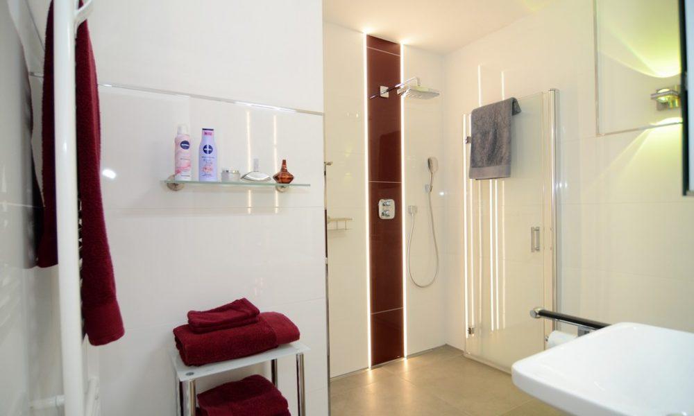 Bild zeigt die moderne Ferienwohnung Ehmann mit Duschsäule und verstellbarer Duschwand